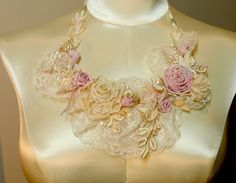 Lambs and Ivy Designs: Marie Antoinette Lace Ribbonwork Bib Necklace