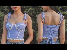 Crochet Wool, Cute Crochet, Crochet Clothes, Diy Clothes, Crochet Outfits, Crochet Top Outfit, Crochet Tank Tops, Crochet Womens Tops, Bralette Pattern