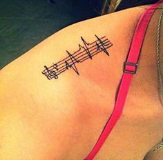Coolest Heartbeat Music Love Tattoo For Women Shoulder