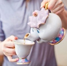 Mrs Potts and Chip from Beauty and the Beast teapot and teacup set- so adorable!  Disney Home I Disney Decorating I Disney Office I Disney Bedroom