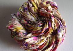 Sari Silk, Vintage Confetti, Fair Trade, 5 Yards, OOAK Silk Canvas Series, Textile, Unique Ribbon, Silk Ribbon, Artwear Elements 146