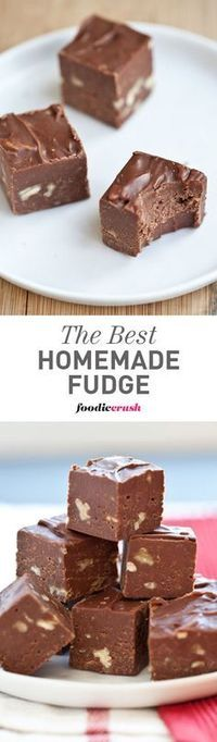 My mom makes this homemade fudge every Christmas, only at Christmas, and usually eats it for breakfast with her coffee. Yes, it's THAT good. | http://foodiecrush.com #recipe #fudge #Christmas