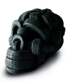 Skull of Tires by Stefano Bombardieri Art sculpture Assemblage Recycled Skull