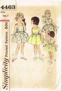 1960s Vintage Toddler's Sun Dress Unused 1962 Simplicity Vtg Sewing Pattern Sz 3 | eBay