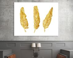 Feathers Gold Sign, feathers gold prin, gold nursery decor, Modern Minimalist Art, thank you gift, scandinavian, Wall Decor, Most Popular #giftidea #birthdaygiftideas #housewarminggift