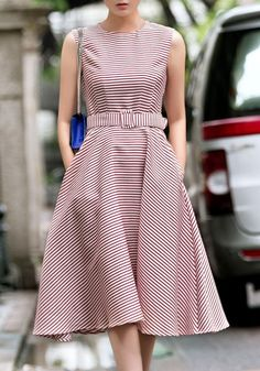 midi dress pink striped draped belt pockets round neck