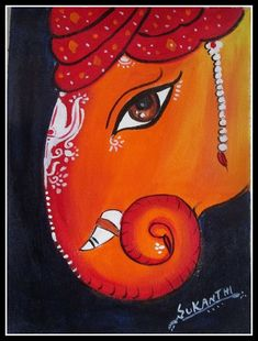 Ganesha Drawing, Lord Ganesha Paintings, Ganesha Art, Small Canvas Art, Mini Canvas Art, Art Drawings For Kids, Art Drawings Sketches Simple, Ganesha Rangoli, Unicorn Painting