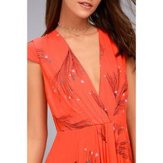 Free People Retro Coral Orange Floral Print Midi Dress (€125) ❤ liked on Polyvore featuring dresses, red retro dress, red floral dress, red dress, red midi dress and midi dress