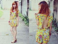 Motel Rocks Motel Minnie Open Back Playsuit In Yellow Ditsy Floral Print, Jeffrey Campbell Gold Jc Shoes, Necklace
