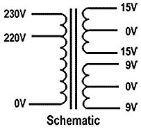 Schematic diagram of a a power transformer with tapped windings. Switched Mode Power Supply, Volt Ampere, Circuit Diagram, Electronics Projects, Transformers, Theory, Flower, Products, Knowledge