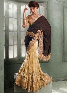 Dark Brown And Cream Designer Bridal Half N Half Saree  http://www.angelnx.com/Sarees