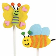 Happy Landings Cookie Pops. Send spirits soaring with these lively bee and butterfly pops. Tint cookie dough yellow and create the winged creatures using Bug Buddies Metal Cutter Set, piped icing, and candy details.