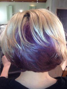 Purple Hair  Something for short hair! Peekaboo Color, Purple Peekaboo Hair, Purple Hair, Red Purple, Bob Haircuts For Women, Popular Short Hairstyles, Bob Hairstyles, Purple Highlights, Cool Hair Color