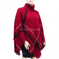 Turtleneck Plaid Poncho 201237 Burgundy