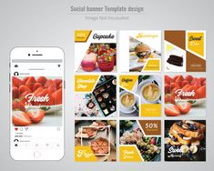 Food Social Media Post Template for Restaurant. Food Web Design, Food Graphic Design, Web Design Tools, Menu Design, Social Media Banner, Social Media Design, Photoshop, Food Catalog, Adobe Illustrator