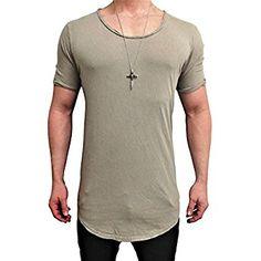 f95477bde1f90a Herren Oversize Designer T-Shirt Tee Longshirt basic slim-fit kurzarm lange Oversized  männer
