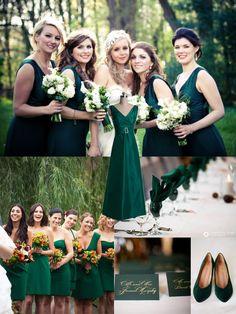 Hunter Green Wedding-Bridesmaid Dresses, love the green napkins in glasses Green Wedding Dresses, Wedding Bridesmaid Dresses, Wedding Colors, Emerald Green Weddings, Bridesmaids And Groomsmen, Queen, Wedding Bells, Fall Wedding, Just In Case