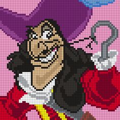 Captain Hook from Peter Pan X 70 Square Grid Pattern) Disney Cross Stitch Patterns, Pony Bead Patterns, Kandi Patterns, Peyote Stitch Patterns, Hama Beads Patterns, Alpha Patterns, Beading Patterns, Perler Bead Disney, Perler Bead Art