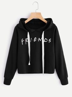 Shop Friends Print Drop Shoulder Raw Hem Hoodie online. SheIn offers Friends Print Drop Shoulder Raw Hem Hoodie & more to fit your fashionable needs.