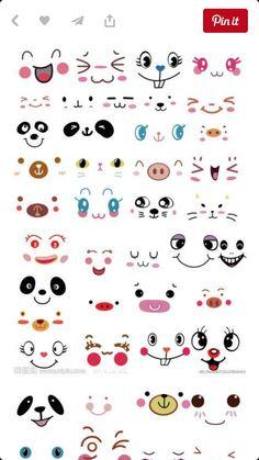 Draw Mini Drawings, Doodle Drawings, Cartoon Drawings, Doodle Art, Cute Cartoon Faces, Kawaii Faces, Kawaii Girl Drawings, Cute Bakery, Kawaii Doodles