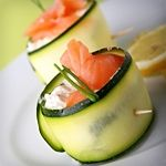 Smoked Salmon, Cucumber and Cream Cheese Roll-Ups