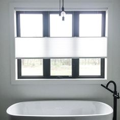 Our dual top-down/bottom-up cellular shades offer maximum versatility, making them a popular option for privacy and lighting control. Window Coverings, Window Treatments, Honeycomb Shades, Shaped Windows, Budget Blinds, Cellular Shades, Smart Home Technology, Black Windows, Custom Windows