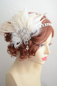 Gatsby Bridal Champagne and Ivory Peacock Feather Headpiece,High Sparkle rhinestone Peacock feather headband, Art Deco clip Great Gatsby Wedding, 1920s Wedding, Art Deco Wedding, Gatsby Party, 20s Party, Party Hair, Wedding Ideas, Gatsby Headpiece, Feather Headpiece