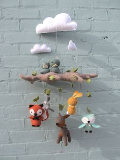 Special Custom Edition - Baby Mobile with Woodland Animals. This handcrafted mobile is made from colorful wool felt and consists of Mobiles, Handmade Crafts, Diy And Crafts, Wooly Bully, Felt Mobile, Baby Crib Mobile, Felt Decorations, Woodland Animals, Felt Crafts