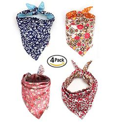 Combofix Dog Bandana Multi Coloured Scarves Accessories for Pet Dogs and Cats (4 Pack ) >>> Visit the image link for more details.