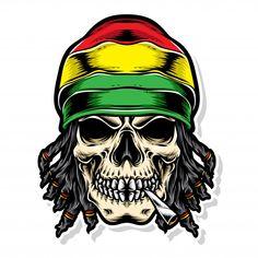 Skull rasta vector logo Premium Vector | Premium Vector #Freepik #vector #logo #music #icon #character Gas Mask Art, Masks Art, Rasta Tattoo, Asian Dragon Tattoo, Black History T Shirts, Bob Marley Art, Mind Blowing Images, Monkey Art, Weed Art