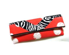 Clutch Foldover Zaney Red Clutch Red And White By Kmicheleonline, $45.00