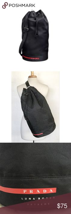 """Prada Luna Rossa Extreme Duffle Bag New in original zip lock bag.  Measures 21"""" in length and 10"""" in diameter and has an adjustable strap.  Can be worn on one shoulder or across.  Great unisex duffle for weekend getaways or to the gym.  No trades. Prada Bags"""