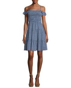 Dot-Print+Smocked+Dress,+Cabarita+by+Tory+Burch+at+Neiman+Marcus.