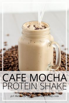 Cafe Mocha Protein Shake Coffee and chocolate protein come together to create a cafe mocha type protein shake that is perfect for busy mornings. or anytime! Protein Powder Shakes, Protein Powder Recipes, Protein Shake Recipes, Healthy Recipes, Whey Protein Shakes, Diabetic Protein Shakes, Oats Recipes, Healthy Breakfasts, Vegan Protein