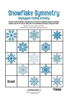 This snowflake symmetry unplugged coding activity pairs math + tech! Build the snowflakes, determine the algorithm, and run the code to collect all of the snowflakes to make it through the maze!