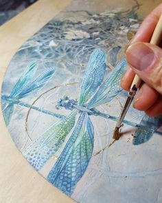 Adding a bit of gold leaf. #Watercolor on wood panel (prepped with watercolor ground). This piece will be showing at @krabjabstudio in February. #insecta #beautifulbugs #immortalephemera #dragonflies #dragonfly