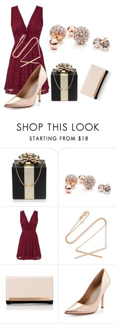 """red and gold"" by pirate-belle ❤ liked on Polyvore featuring Kate Spade, GUESS, Free People, Carbon & Hyde, Lipsy and Charles David"