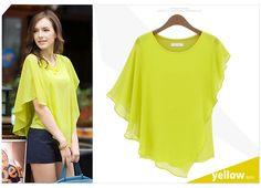 commuter short-sleeved T-shirt flounced chiffon shirt blouse bat shirt $9.99