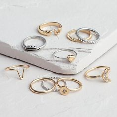 One of my favorite discoveries at WorldMarket.com: Gold and Silver Midi Rings, Set of 10