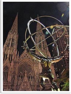 November 2009 ~ Manhattan Midtown, 5th Avenue - St. Patrick´s Cathedral, Atlas´s view. Photo by Jorbasa, via Flickr