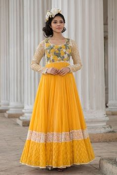 Indian Women Suits - Yellow and White Anarkali | WedMeGood | White Bodice with Brocade Sleeves and Yellow Anarkali #wedmegood #indianbride #indianwedding #anarkali #yellow #white