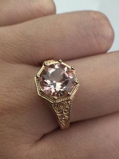 14K Rose Gold Morganite Vintage Engagement Ring by NTproductionS