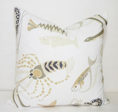 Nautical Ocean Beachy Shell Shrimp Fish Print Pillow Cover Decorative Tan & Grey Throw Pillow Cover 18x18 by HomeLiving on Etsy https://www.etsy.com/listing/223540744/nautical-ocean-beachy-shell-shrimp-fish