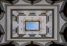 Palazzo Gondi, Florence, Italy; designed in 1489 by architect Giuliano da Sangallo. The courtyard looking up.