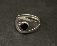 Black Onyx Ring Black Stone Ring Sterling Silver Ring by Artulia
