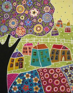 Houses Blooms and a Tree Collage Painting