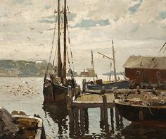 Anthony Thieme (1888-1954). Gloucester Harbor. Oil on Canvas 25 x 30 in.