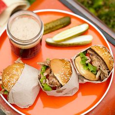 This sweet and savory rootbeer sandwich will be the talk of your tailgate! More game-day recipes: http://www.bhg.com/recipes/party/seasonal/make-and-take-recipes-for-fall/?socsrc=bhgpin112312rootbeersandwiches#page=3