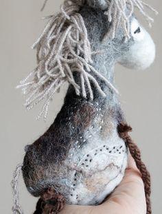 Norbert Felt Donkey. Art Toy. Felted Toy. by TwoSadDonkeys