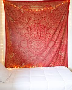 Red & Sparkly Gold Hamsa Tapestry
